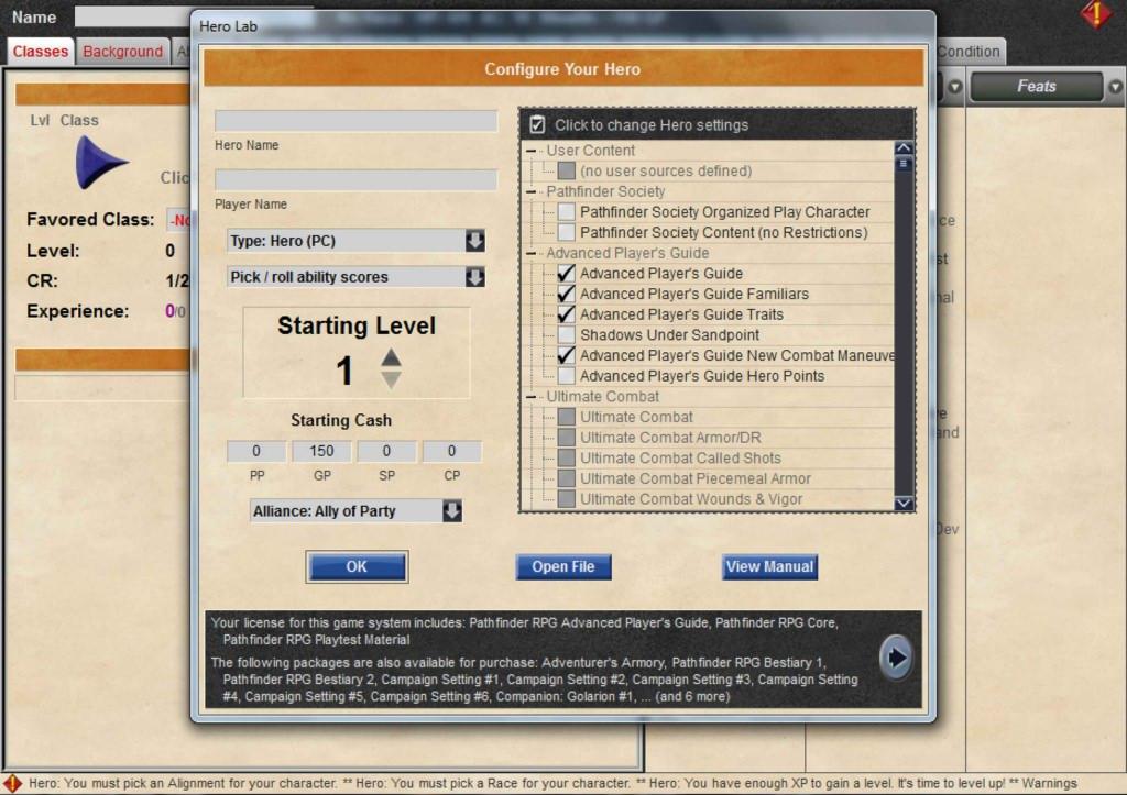 pathfinder character creator software