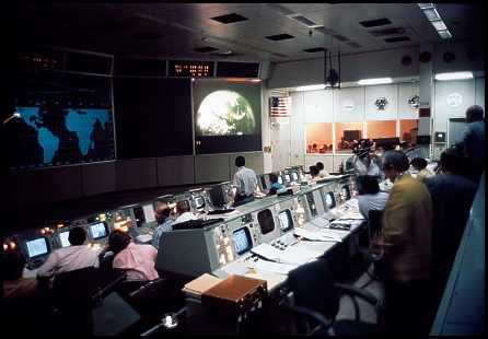 NASA Mission Control during the Apollo 16 mission to the moon
