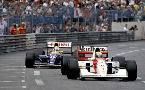 Senna (McLaren-Honda MP4/7A) racing Mansell (Williams-Renault FW14B), Monaco, 1992. Note the differences to the RB8's Front wings, Rear Wings, and Nose - and those are just the most obvious differences.