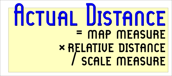 Actual Distance = Map Measure x Relative Distance / Scale Measure