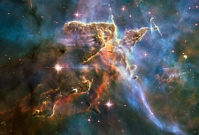 Carina Nebula, photo by NASA Hubble Space Telescope. It's hard to believe that it's been over twenty-three years since Hubble was launched! Click thumbnail for a larger image.