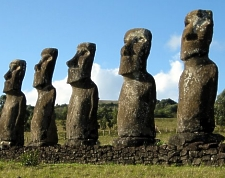 Easter Island statues, photo by Ian Sewell.