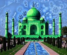 As a derivative work of a copyright image, the copyright of the original is deemed to extend to the derived image. The source image is by Dhirad, ©2004. Used in accordance with permission terms specified at http://en.wikipedia.org/wiki/File:Taj_Mahal_in_March_2004.jpg