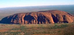 Uluru (Helicopter view), photo by Huntster (Public Domain Image). Click on thumbnail for a larger image.