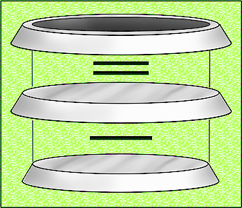 Hollow angled cylinder from two solid angled cylinders