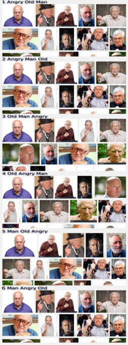Comparison of the Google Image Search Results for 'angry old man', 'angry man old', ' old man angry', 'old angry man', 'man old angry' and 'man angry old'.