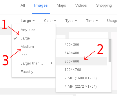 Google Image Search 'Size' restriction menu and sub-menu
