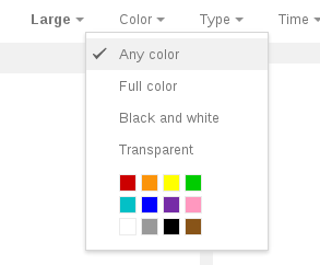 Google Image Search 'Color' restriction menu