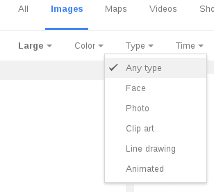Google Image Search 'Type' restriction menu