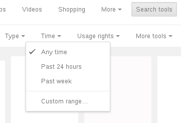 Google Image Search 'Time' restriction menu
