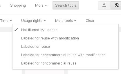 Google Image Search 'Rights' restruction menu