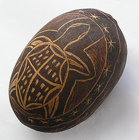Carved Boab Nut by Lin Courtney