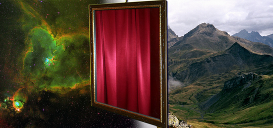 Nebula Mountains Mirror Curtains composite