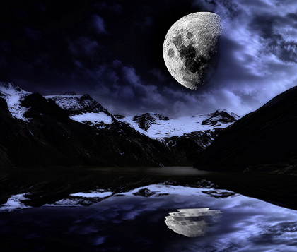 moon in mountains at night