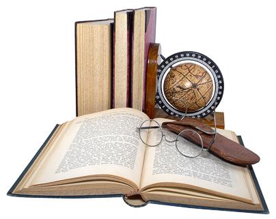 open book, more standing, globe, glasses