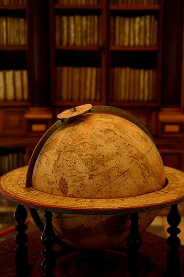 old globe and books