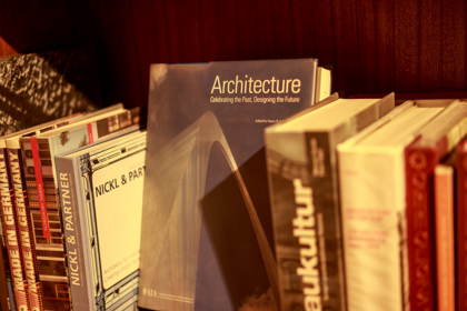 books on cart, architecture prominent title
