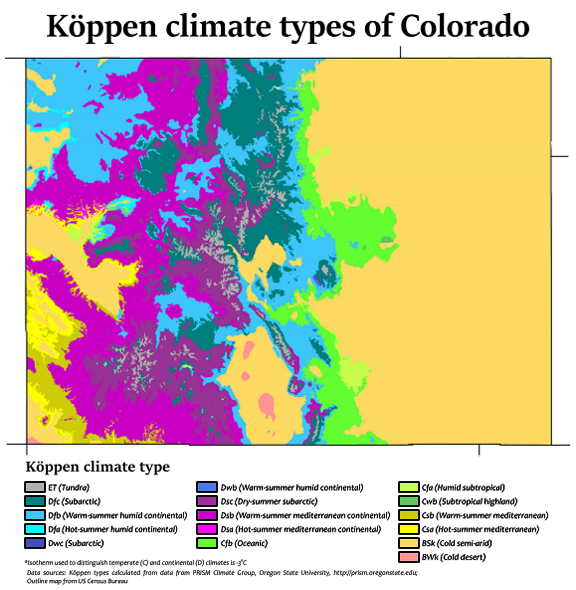 Map Of The Climates Within The State Of Colorado By Adam Peterson, License  CC BY 4.0. Denver Is Located About 1/3 Of The Way Down The State And  Slightly ...